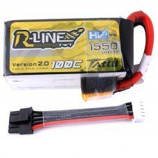 Tattu R-Line 1550mAh 4s 100C 15.2V HV LiPo Pack with Detachable Balance Cable