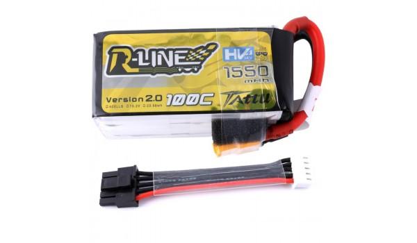 Tattu R-Line 1550mAh 4s 100C 15.2V HV LiPo Pack with Detachable Balance Cable