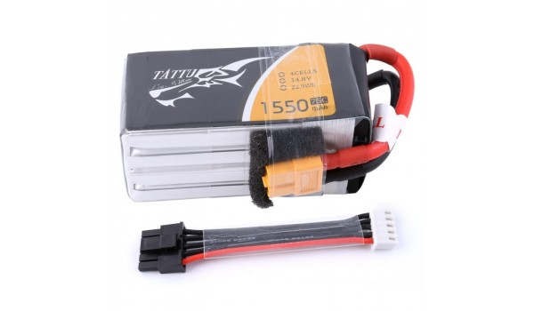 Tattu 1550mAh 4s 75c LiPo Pack with Detachable Balance Cable