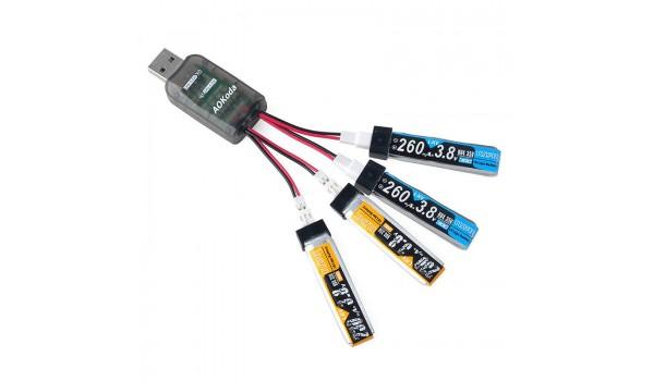 AOKoda CX405 4CH Lipo/LiHV USB Bateriju lādētājs ar PH2.0/ PW konektoru